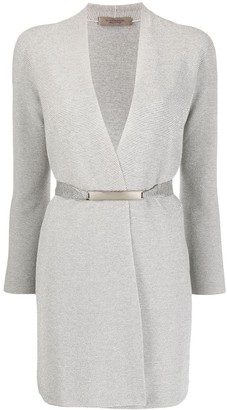 D-Exterior Belted Wrap Cardigan