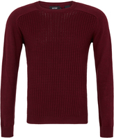 Oxford Grayson Waffle Crew Neck Knit Red X