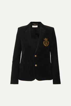 Saint Laurent Appliqued Cotton-corduroy Blazer - Black