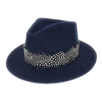 Cotswold Country Hats Womens Showerproof Wool Fedora Hat with Country Feather Wrap Trim - Charingworth (Extra Large - 61cm
