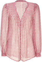 L'Agence LAgence Red Floral Printed Silk Band Collar Blouse
