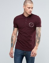 Asos Muscle Polo With Circle Text Chest Print In Oxblood