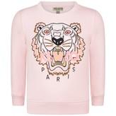 Kenzo KidsGirls Pink Embroidered Tiger Sweater