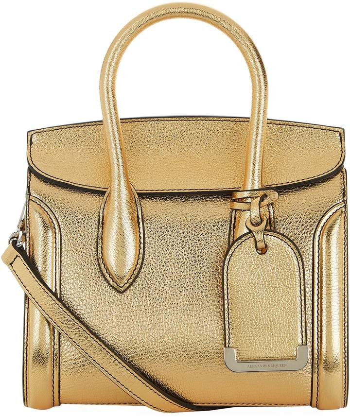 Alexander McQueen Mini Heroine Metallic Leather Bag