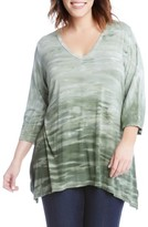 Karen Kane Plus Size Women's Print Shark Bite Hem Top