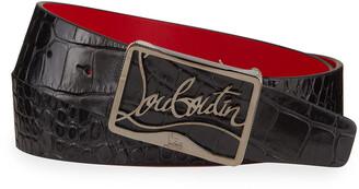 Christian Louboutin Men's Ricky Croc-Embossed Leather Belt