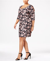 NY Collection Plus Size Printed Cold-Shoulder Dress