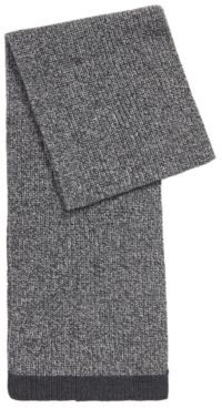 HUGO BOSS Structured-knit scarf in mouline yarns