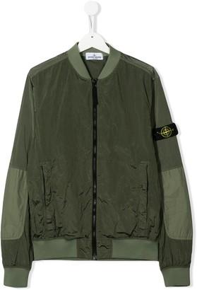 Stone Island Junior TEEN compass patch bomber jacket