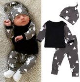 Geekercity Newborn Toddler Baby Boys Girls Deer T-shirt Tops Leggings Pants Hat Outfits Set