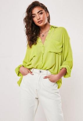 Missguided Lime Cheese Cloth Safari Shirt