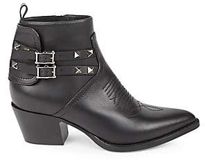 Valentino Women's Garavani Rockstud Western Leather Booties