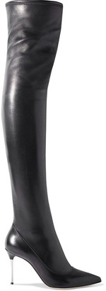 Sergio Rossi Godiva Steel Stretch-leather Over-the-knee Boots