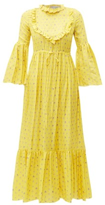 Preen by Thornton Bregazzi Tessa Ruffled Floral-print Satin Dress - Womens - Yellow