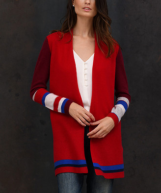 Colour Works by In Cashmere Women's Cardigans Currant - Currant & Burgundy Color Block Cashmere Open Cardigan - Women