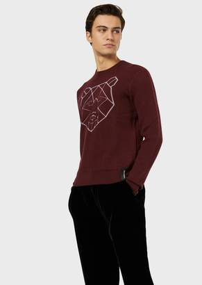 Emporio Armani Wool-Blend Sweater With Stylised Jacquard Pattern
