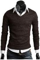 ARJOSA Men Deep V Neck Cable Knit Slim Fit Wear To Work Retro Pullover Sweater