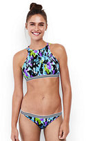 Lands' End Women's Smocked High-neck Bikini Top-Light Turquoise Beach Blooms