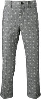 Sacai aloha embroidered trousers - men - Cotton - 2