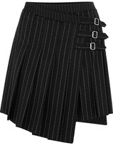 McQ Asymmetric Pleated Pinstriped Woven Mini Skirt - Black