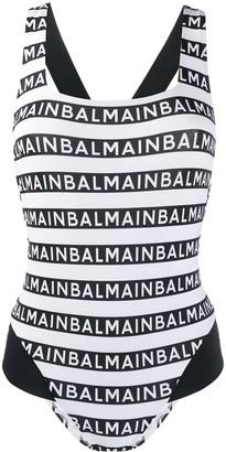 Balmain Repeat Logo Print One-Piece Swimsuit