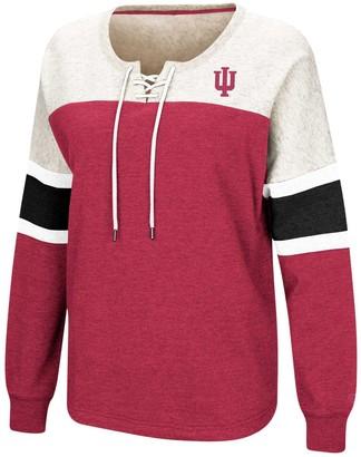 Colosseum Women's Crimson Indiana Hoosiers Become Great Lace-Up Pullover Fleece Sweatshirt