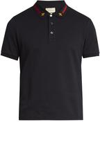Gucci Web-striped collar cotton-blend piqué polo shirt