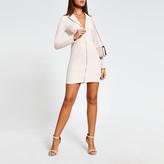River Island Pink long sleeve zip front blazer mini dress