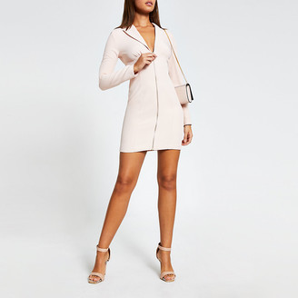 River Island Pink long sleeve zip front blazer mini dress