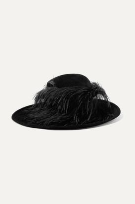 Philip Treacy Feather-trimmed Wool-felt Hat - Black