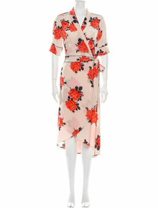 Ganni Silk Midi Length Dress Pink