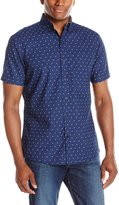 Izod Men's Short Sleeve Saltwater Blues Indigo Geo Print Shirt