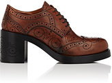 Miu Miu Women's Perforated Leather Lace-Up Oxfords-BROWN