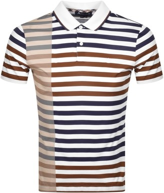 Aquascutum London Northfleet Striped Polo T Shirt Brown
