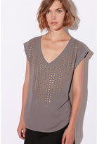 Lucca Couture Studded Silky V-Neck Top
