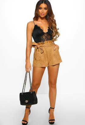 Pink Boutique So Lavish Taupe Suedette High Waisted Shorts