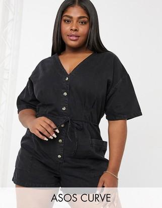 ASOS DESIGN Curve soft denim relaxed playsuit in black