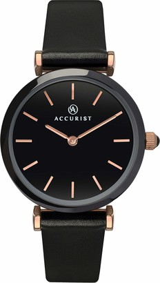 Accurist Womens Japanese Quartz Watch With Ceramic Case Genuine Leather Strap 30m Water Resistant 2 year guarantee.