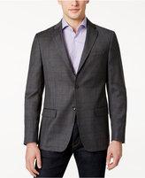 DKNY Men's Slim-Fit Gray and Blue Windowpane Sport Coat