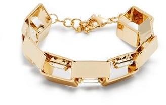 Rosantica Eleonor Crystal-embellished Square-link Bracelet - Gold