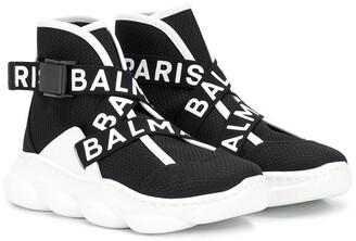 Balmain Kids logo trim sneakers