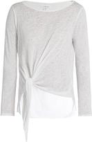 Velvet by Graham & Spencer Gwyneth tie-front slub-jersey top