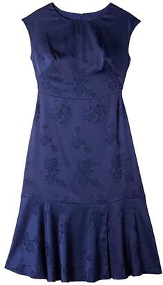 Adrianna Papell Satin Jacquard Midi Tie Dress (Navy) Women's Dress