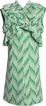 Marni Crossover Ruffle-trimmed Printed Cotton-poplin Dress