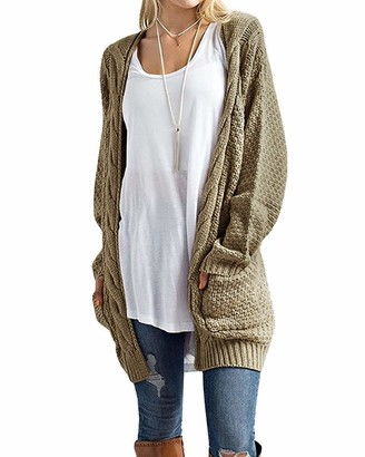 CNFIO Womens Long Sleeve Sweater Cardigan Loose Open Front Chunky Outwear Cardigans with Pockets Khaki 2XL