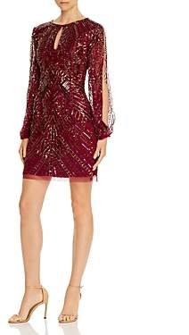 Aidan Mattox Split-Sleeve Sequined Dress