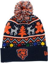 New Era Chicago Bears Christmas Sweater Pom Knit Hat
