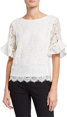 Nanette Lepore Nanette Lace Scallop Frill Sleeve Top