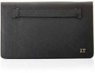 Ha Designs Personalised Initial Leather Black Clutch Bag - Black