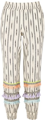 Alice + Olivia Pete Tassel-trimmed Cotton-jacquard Trousers